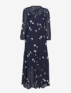 DEMELZA PRINTED DRESS - NAVY BLUE