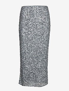 SIRALIE LONG SEQUIN SKIRT - STEEL GREY