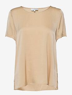BLOOMIE SILK BLOUSE - blouses med korte mouwen - honey