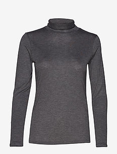 IRALIE ROLL NECK LS TOP - STEEL GREY