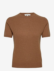 JOSEFA SS CASHMERE KNIT - t-shirts - cognac