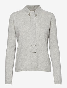 LELIALE CASHMERE BOW KNIT - LIGHT GREY