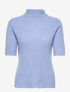 Helaine Cashmere Polo Knit - turtlenecks - hyacinth blue