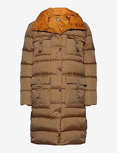 AMBRA COAT - padded coats - cognac