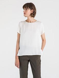 BLOOMIE SILK BLOUSE - bluzki krotkim rekawem - chalk white