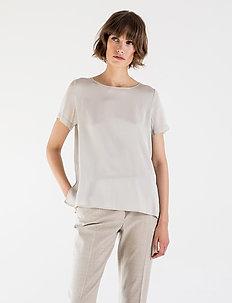 BLOOMIE SILK BLOUSE - bluzki krotkim rekawem - light grey