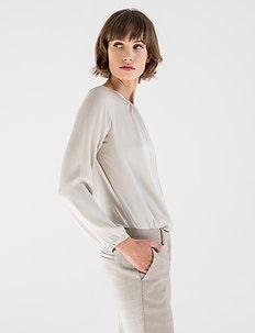 JANNI SILK BLOUSE - bluzki dlugim rekawem - light grey