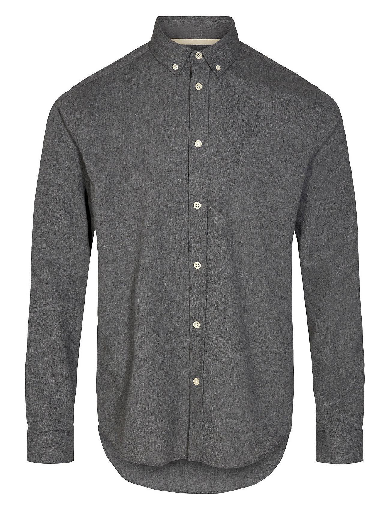 Akkonrad Melange Shirt Skjorte Casual Grå Anerkjendt