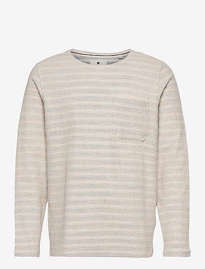 AKSAIL LS STRIPE - knitted round necks - tofu
