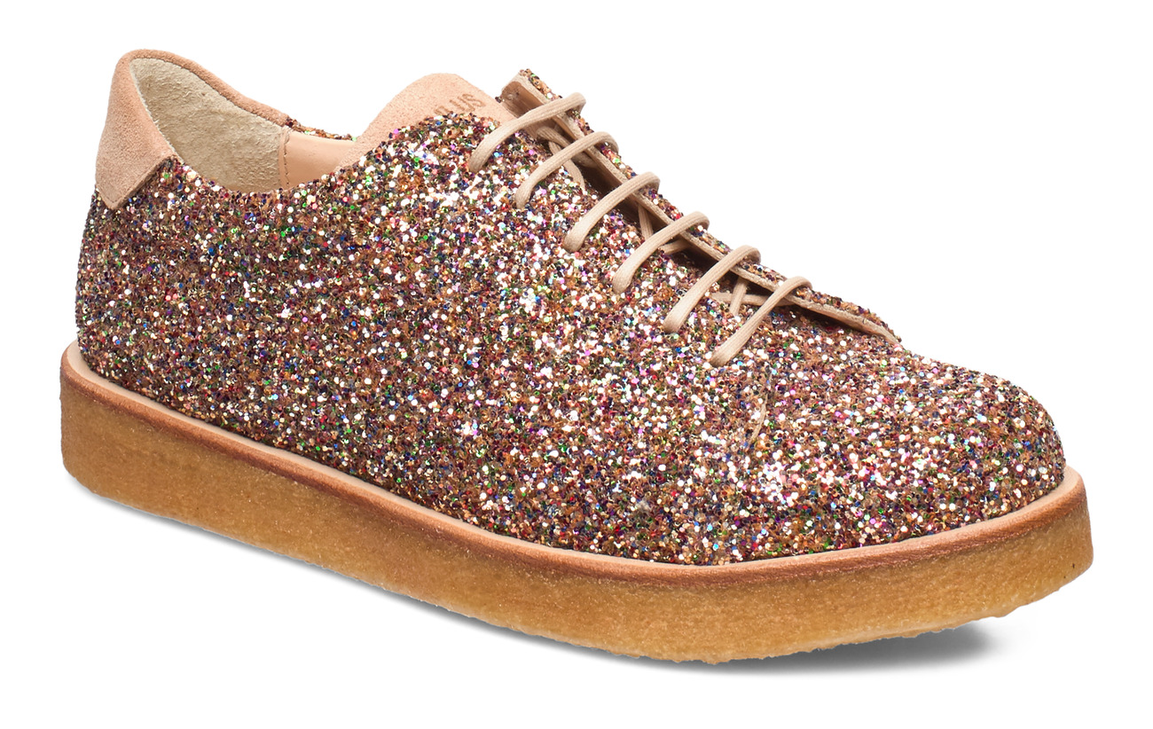 ANGULUS Shoes - flat - with lace - 2488/1149 MULTI GLITTER/SAND