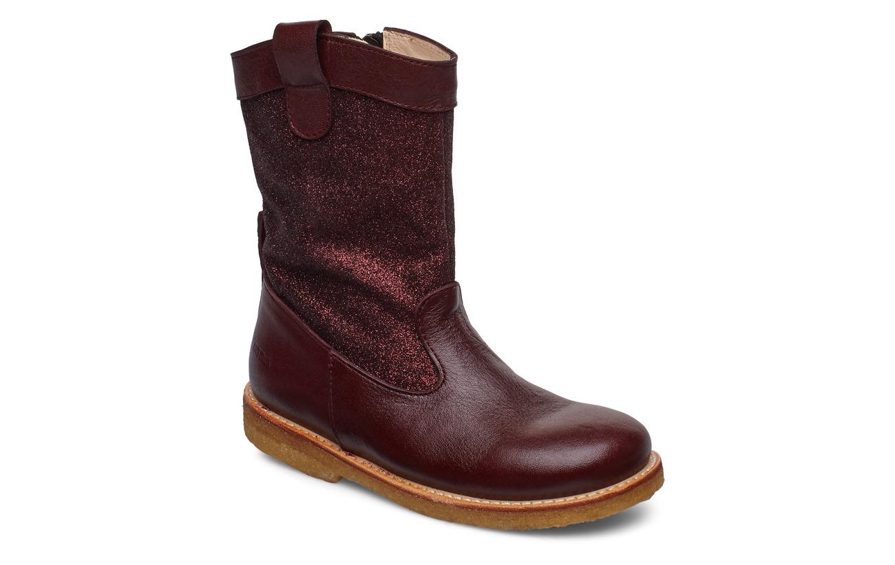ANGULUS Boots - flat - 2544/2644 BORDEAUX/B. GLITTER