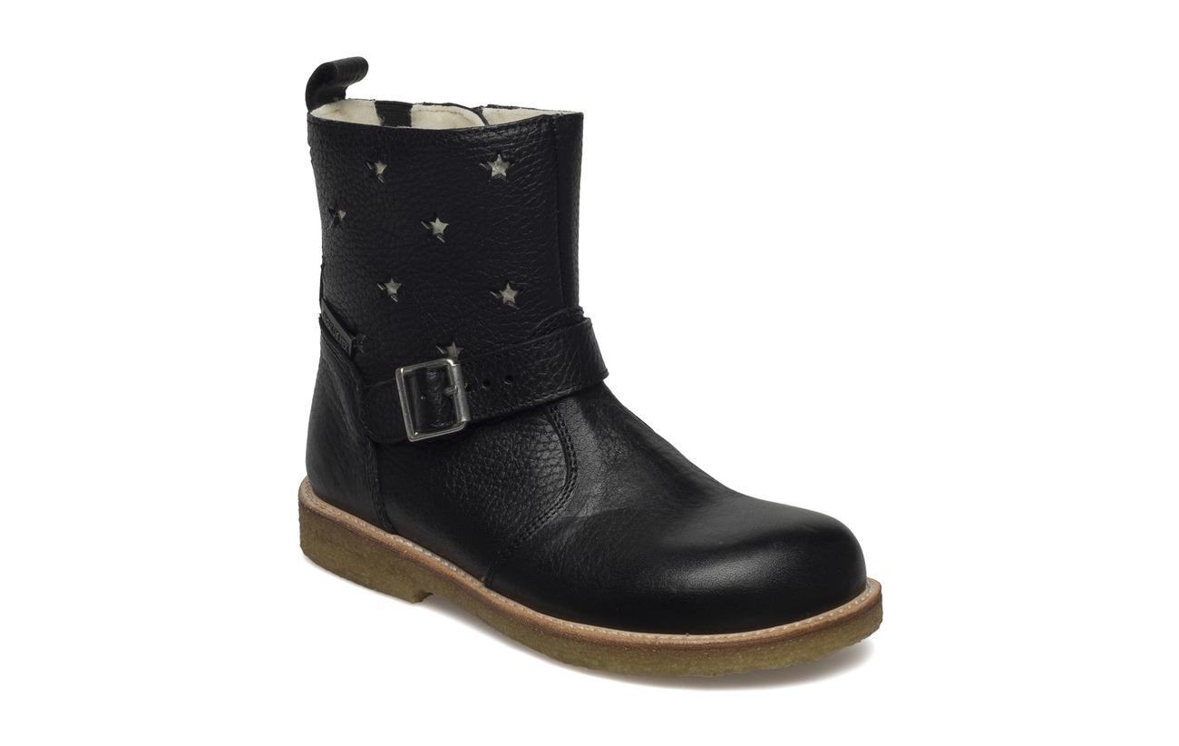 ANGULUS Boots - flat - with zipper - 2504/1325/1604/001 BLACK/CHAMP