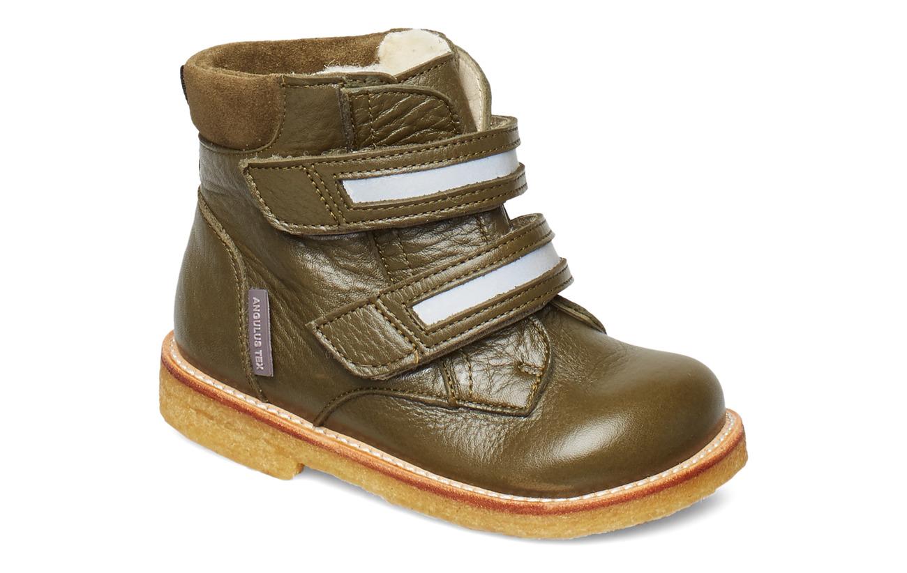 ANGULUS Boots - flat - with velcro - 2634/2012/2196/2022 OLIVE/REFL