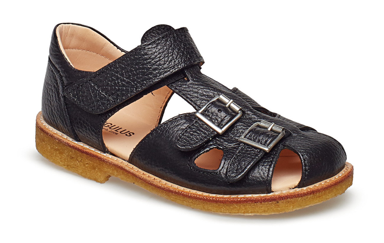 ANGULUS Sandal with two buckles in front - 2504 BLACK