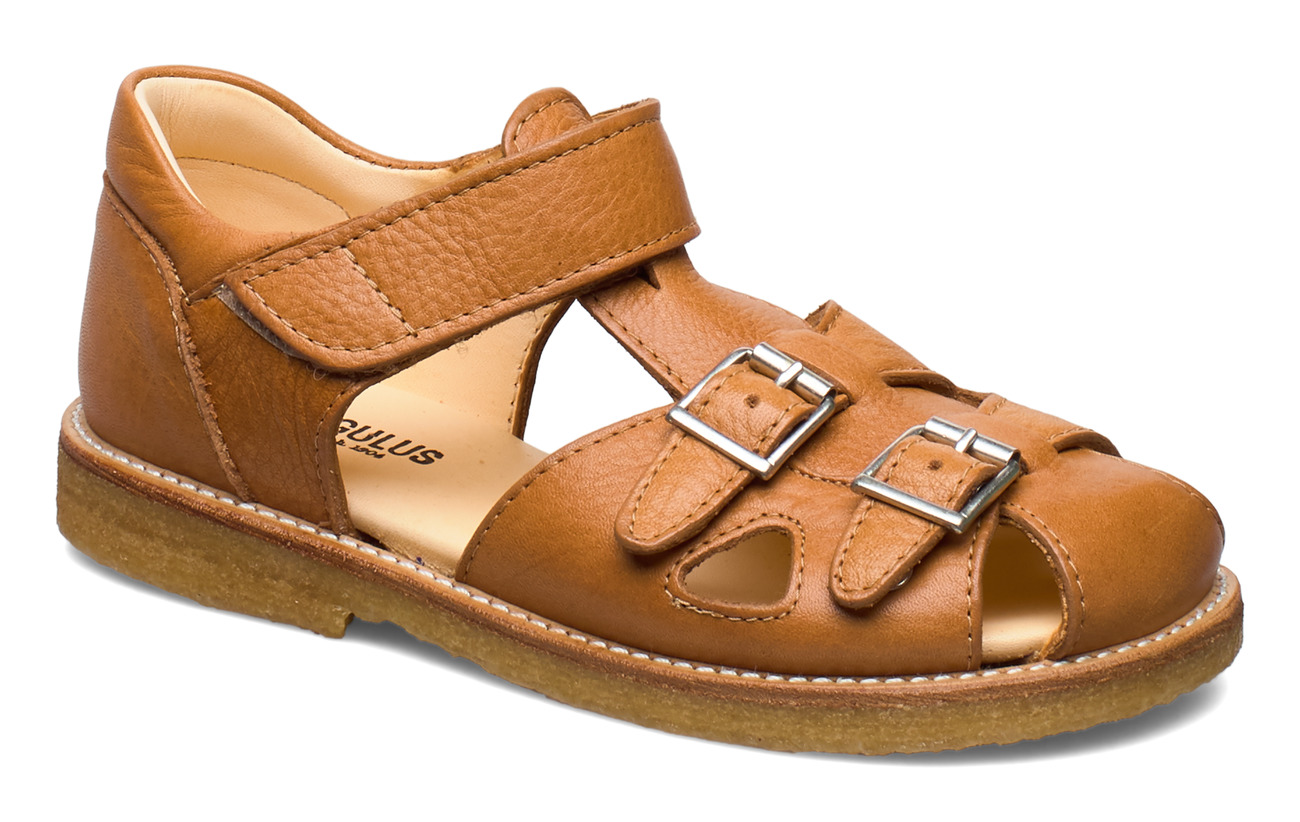 ANGULUS Sandal with two buckles in front - 2621 COGNAC