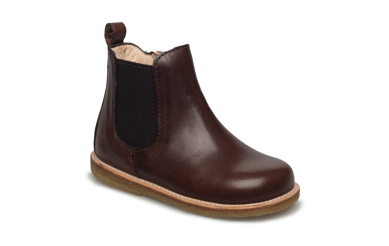 ANGULUS Booties - flat - with zipper - 1562/002 ANGULUS BROWN/ BROWN