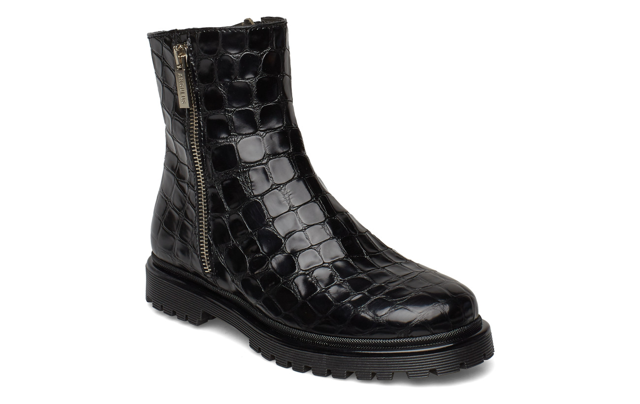 ANGULUS Boots - flat - with zipper - 1674 BLACK CROCO