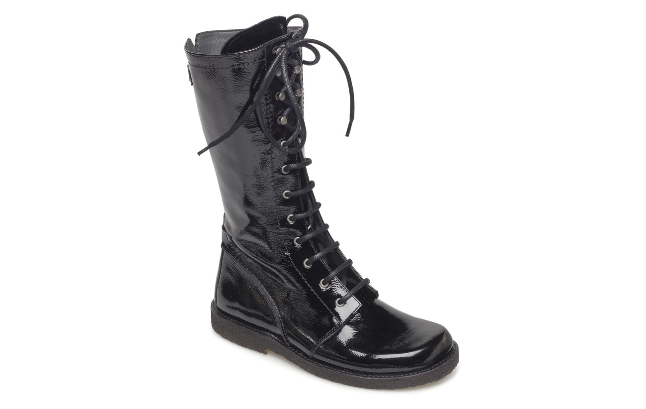 ANGULUS Long boot with laces. - 1310 BLACK