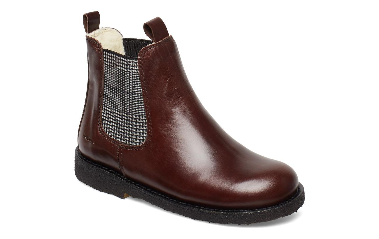 ANGULUS Chelsea boot - 1836/044 DARK BROWN/CHECKED EL