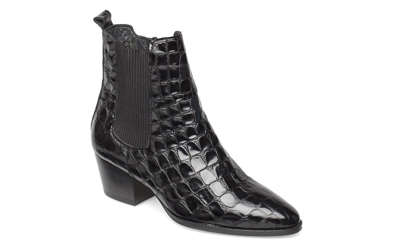 ANGULUS Booties - Block heel - with elas - 1674/019 BLACK CROCO/ BLACK