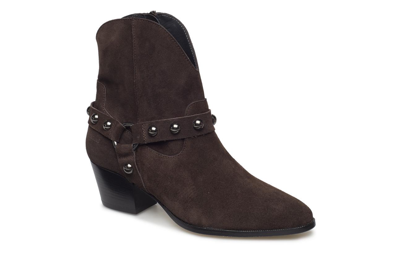 ANGULUS Bootie - block heel - with zippe - 2193 DARK BROWN