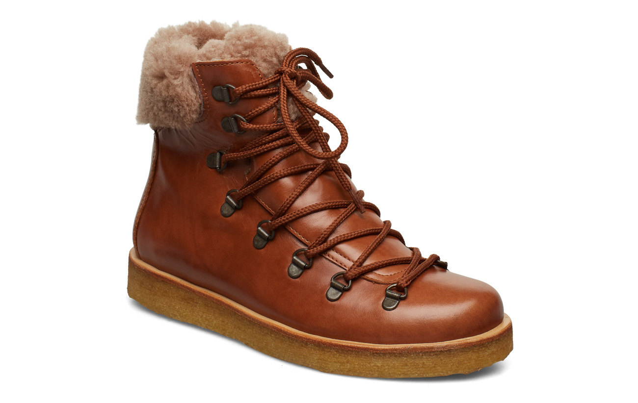 ANGULUS Boots - flat - with laces - 1838/2019 COGNAC/COGNAC LAMB W