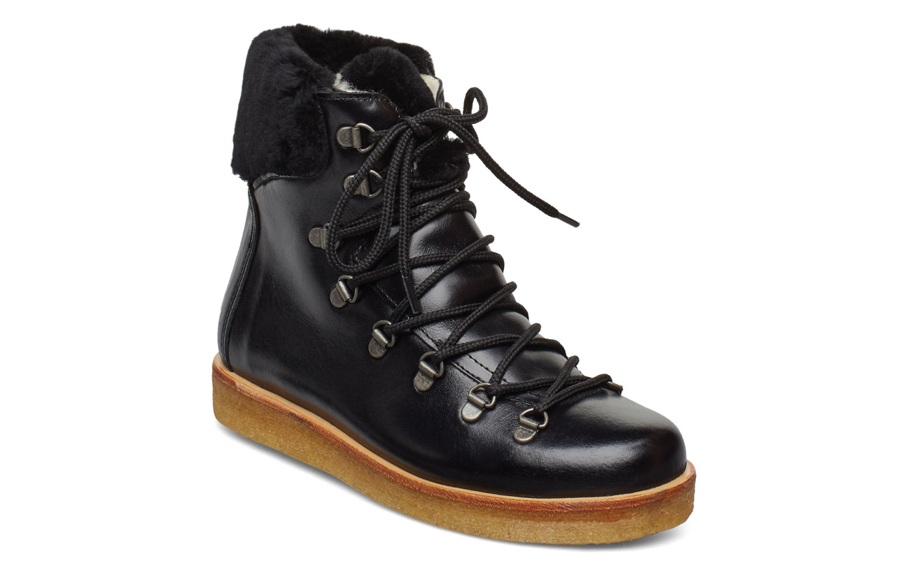 ANGULUS Boots - flat - with laces - 1835/2014 BLACK/BLACK LAMBSWOO