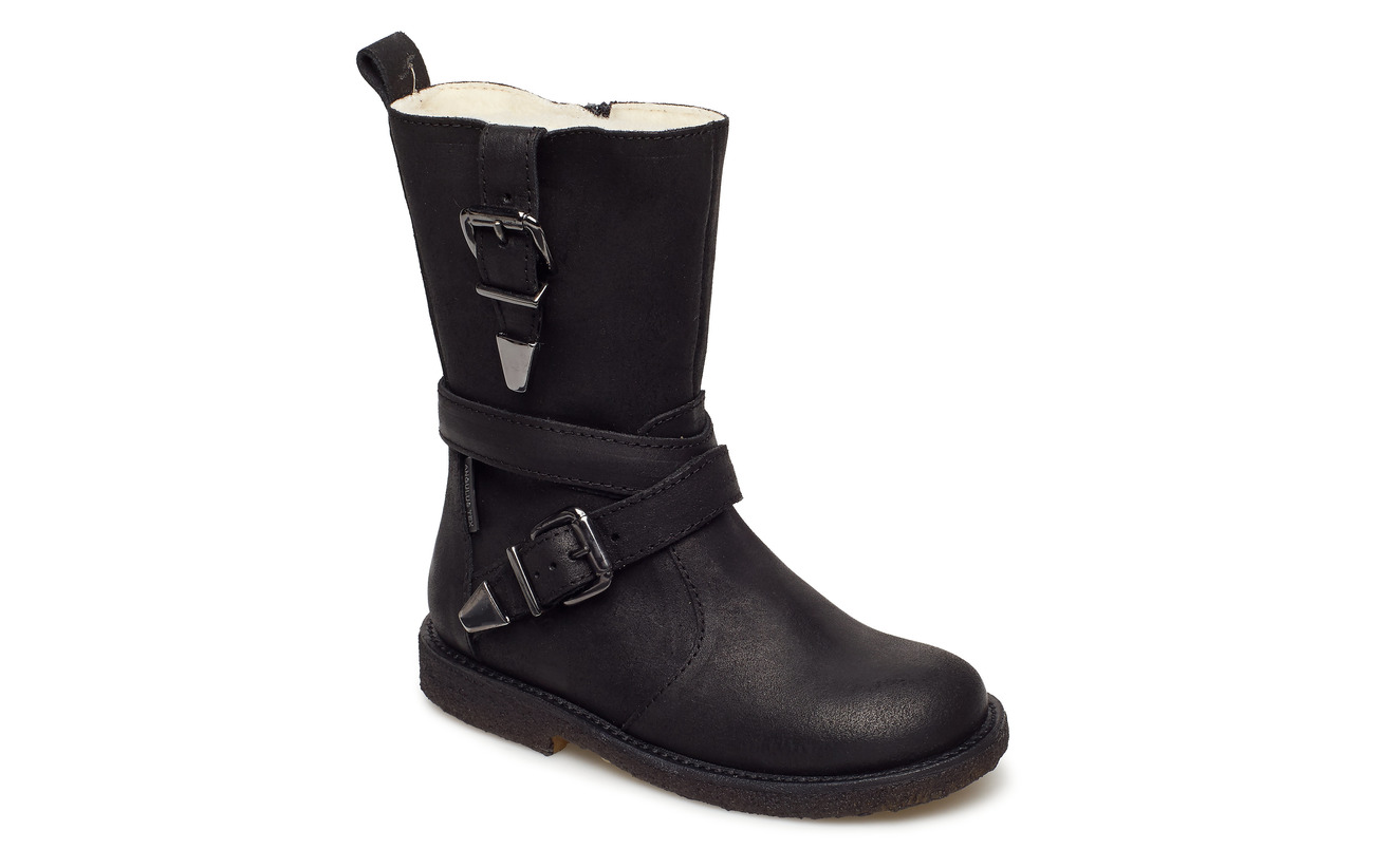ANGULUS Boots - flat - with zipper - 2100/1604 BLACK/BLACK
