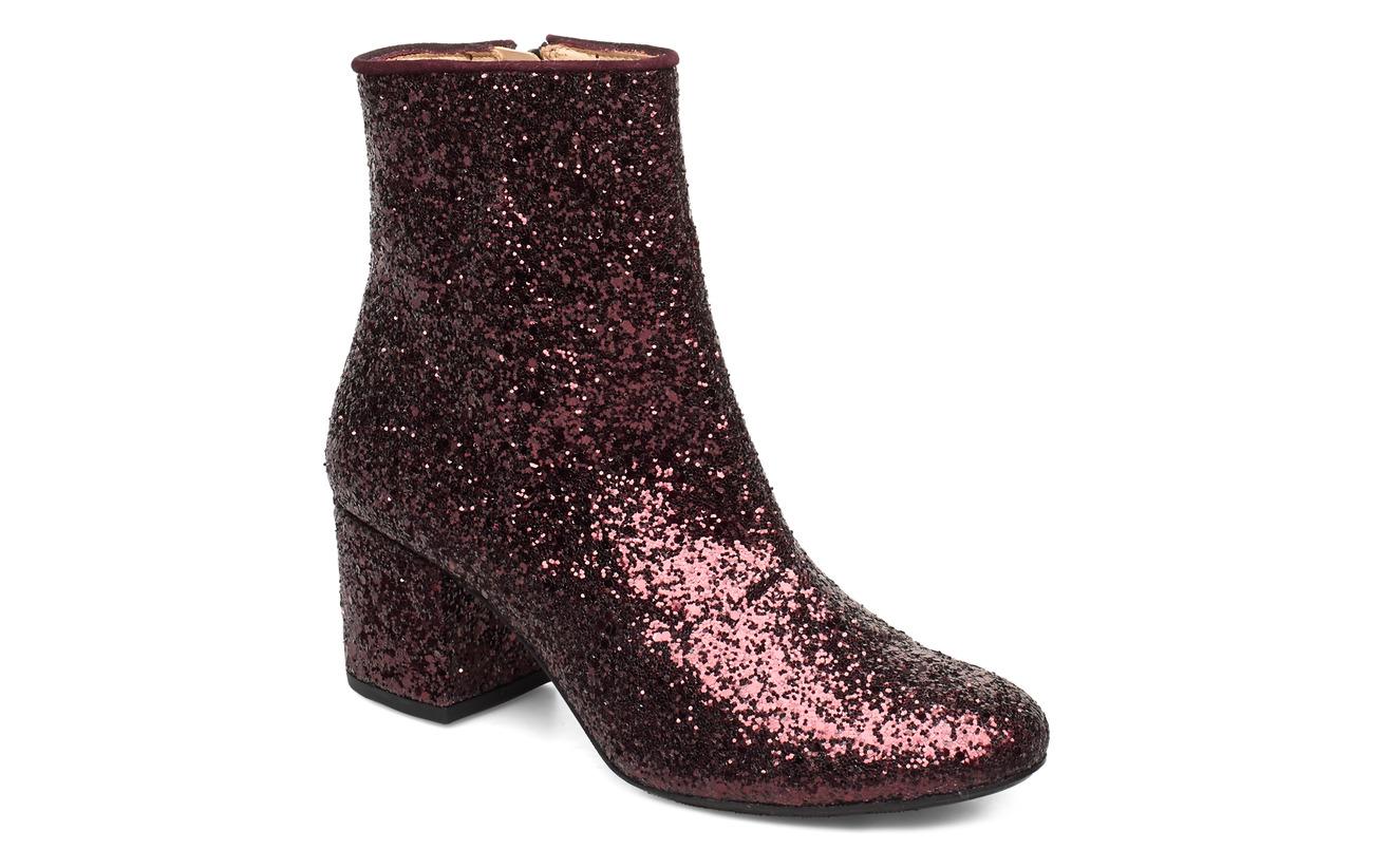 ANGULUS Bootie - block heel - with zippe - 2642/2195 BORDEAUX GLITTER/BOR