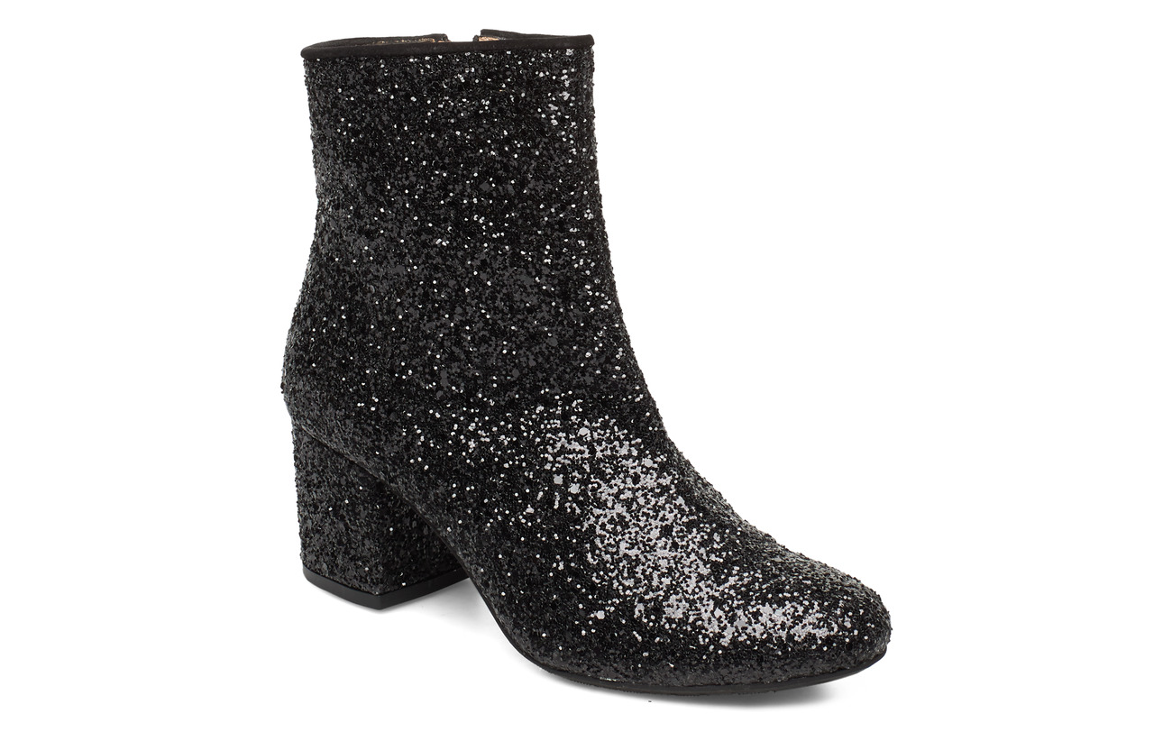 ANGULUS Bootie - block heel - with zippe - 2486/1163 BLACK GLIT/BLACK