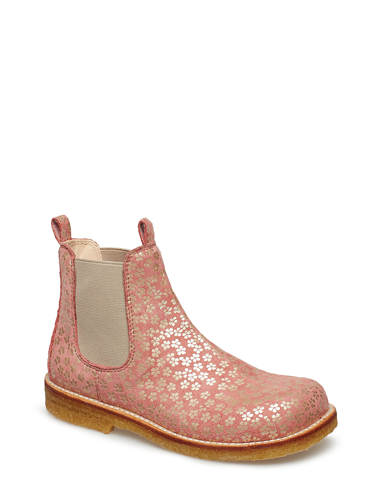 ANGULUS Booties - flat - with elastic - 2491/010 CORAL FLOWER/BEIGE