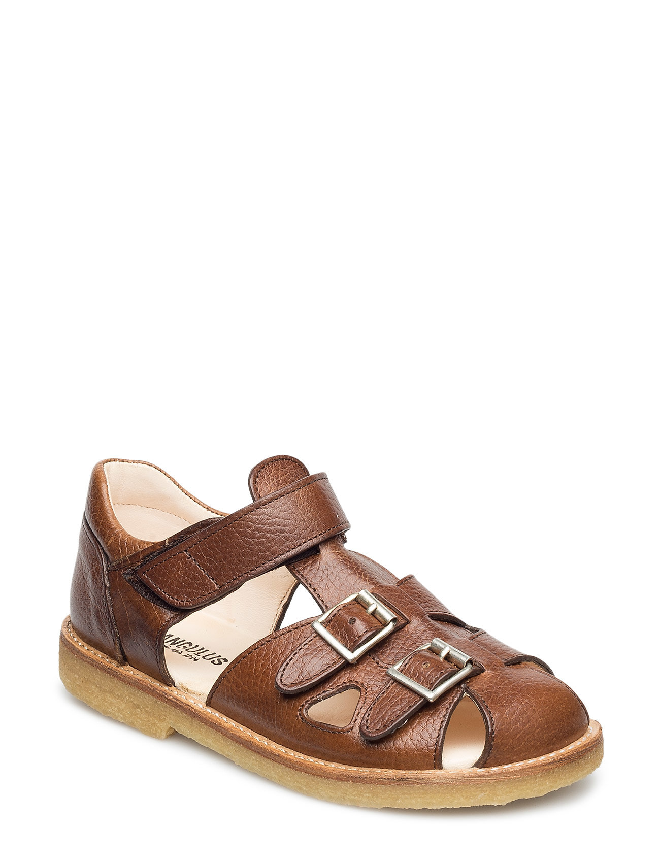 ANGULUS Sandal with two buckles in front - 2509 COGNAC
