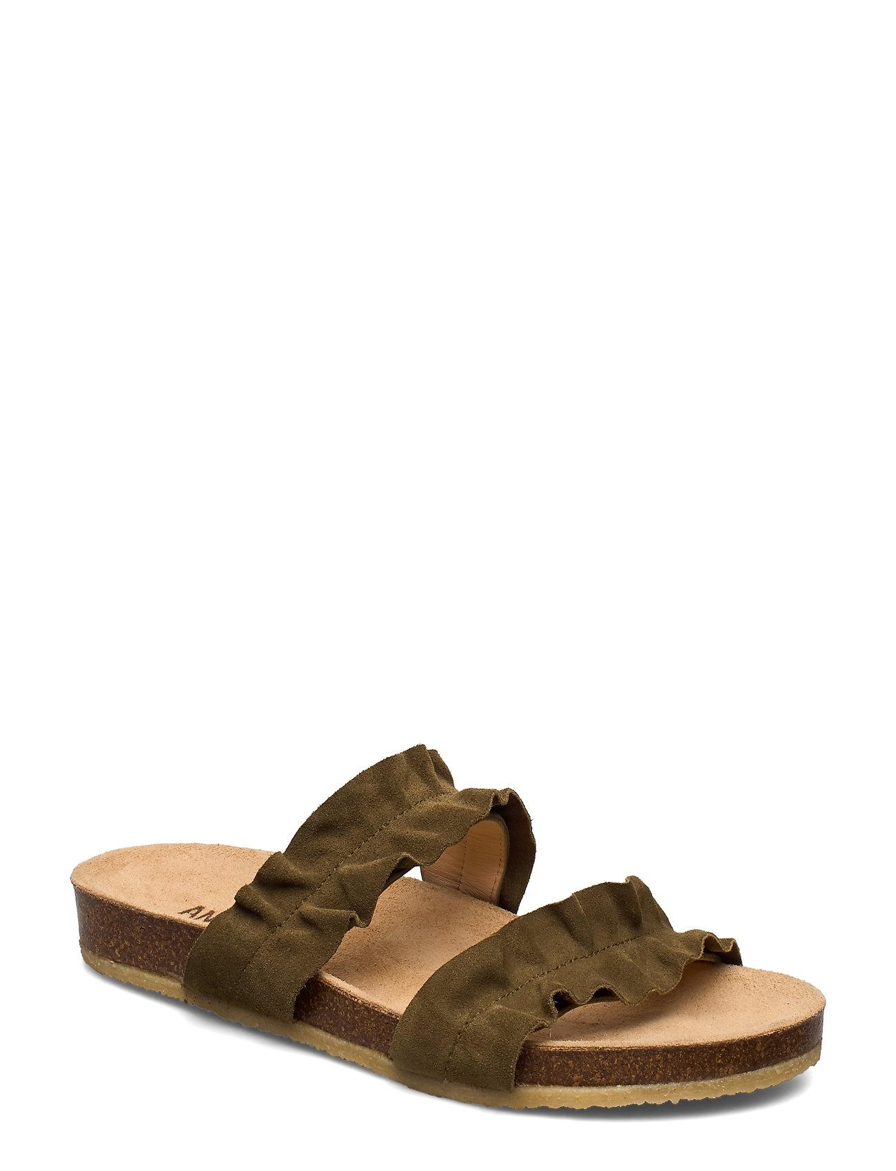 Image of Sandals - Flat - Open Toe - Op Shoes Summer Shoes Flat Sandals Grøn ANGULUS (3334142579)