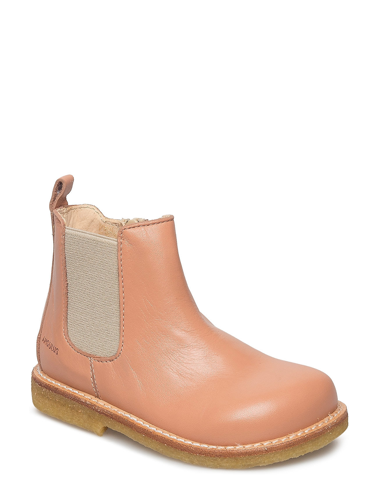 ANGULUS Booties - flat - with zipper - 1533/010 DUSTY PEACH/BEIGE