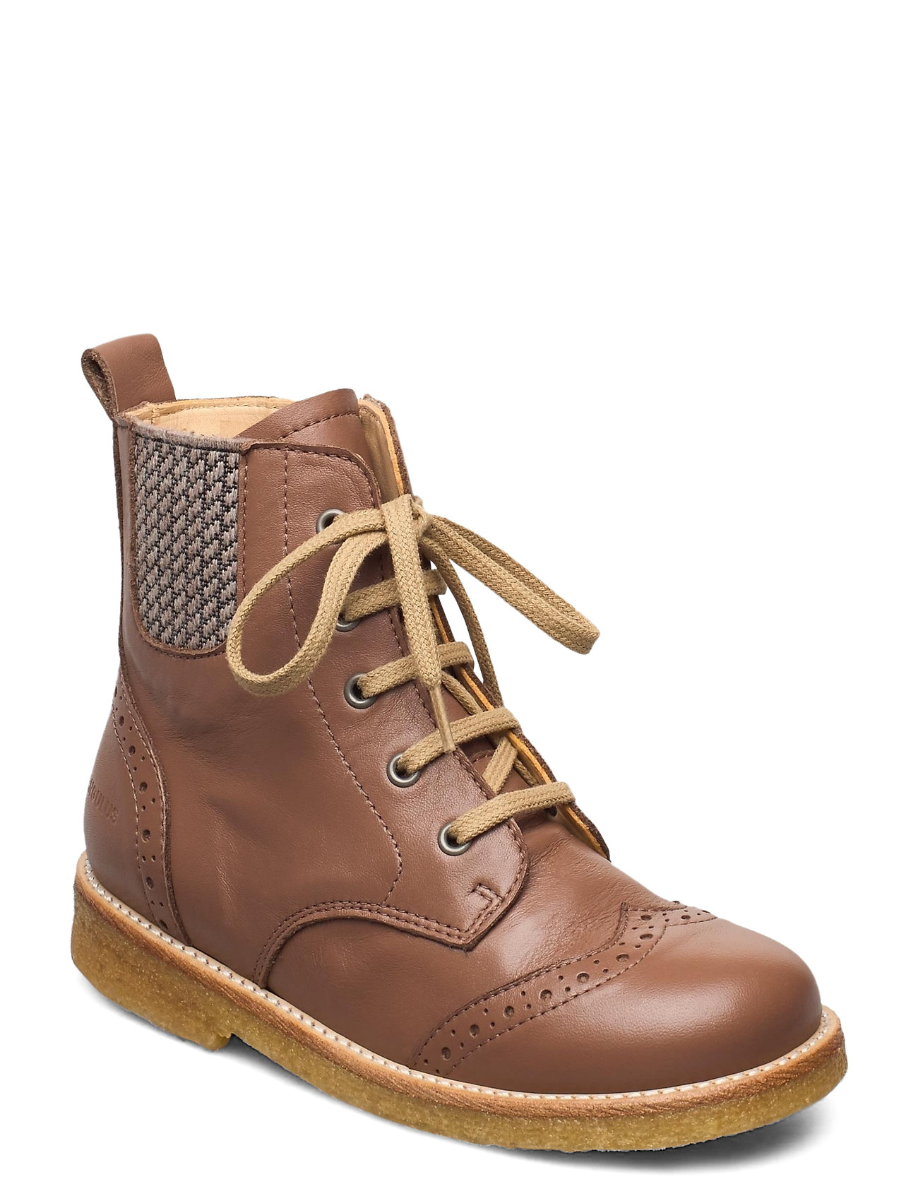 Boots - Flat - With Lace And Zip Boots Støvler Brun ANGULUS