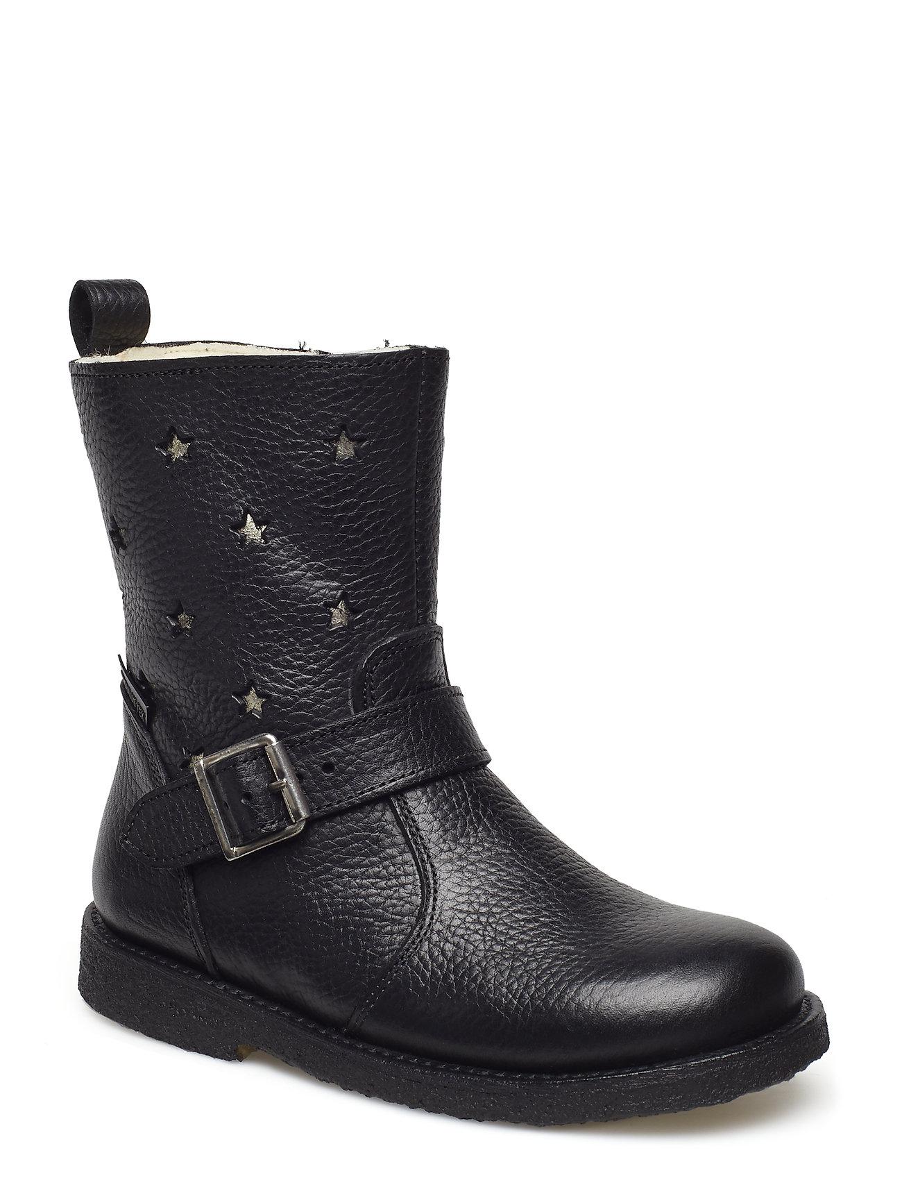 ANGULUS Boots - flat - 2504/1325 BLACK/CHAMPAGNE