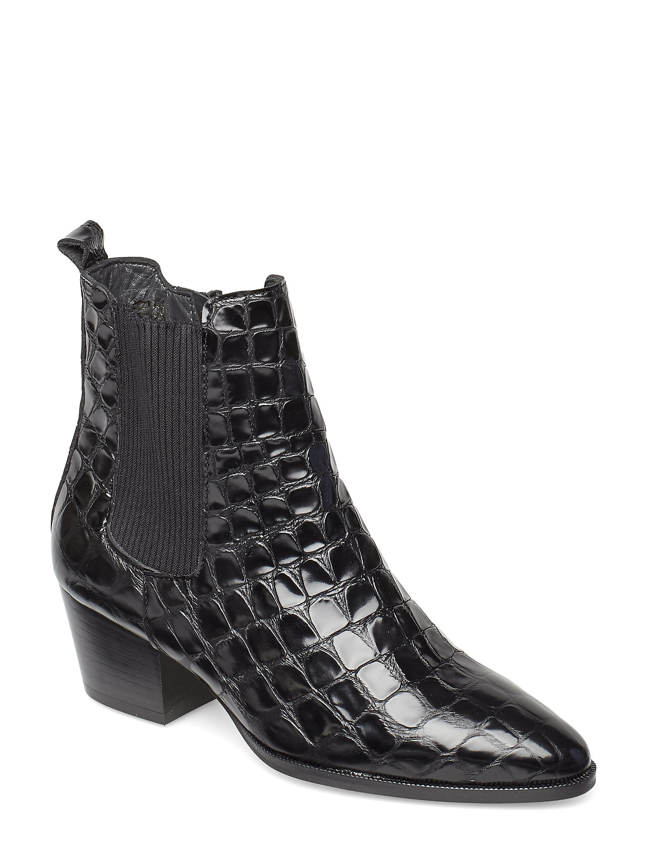 Image of Booties - Block Heel - With Elas Shoes Boots Ankle Boots Ankle Boots With Heel Sort ANGULUS (3199926921)