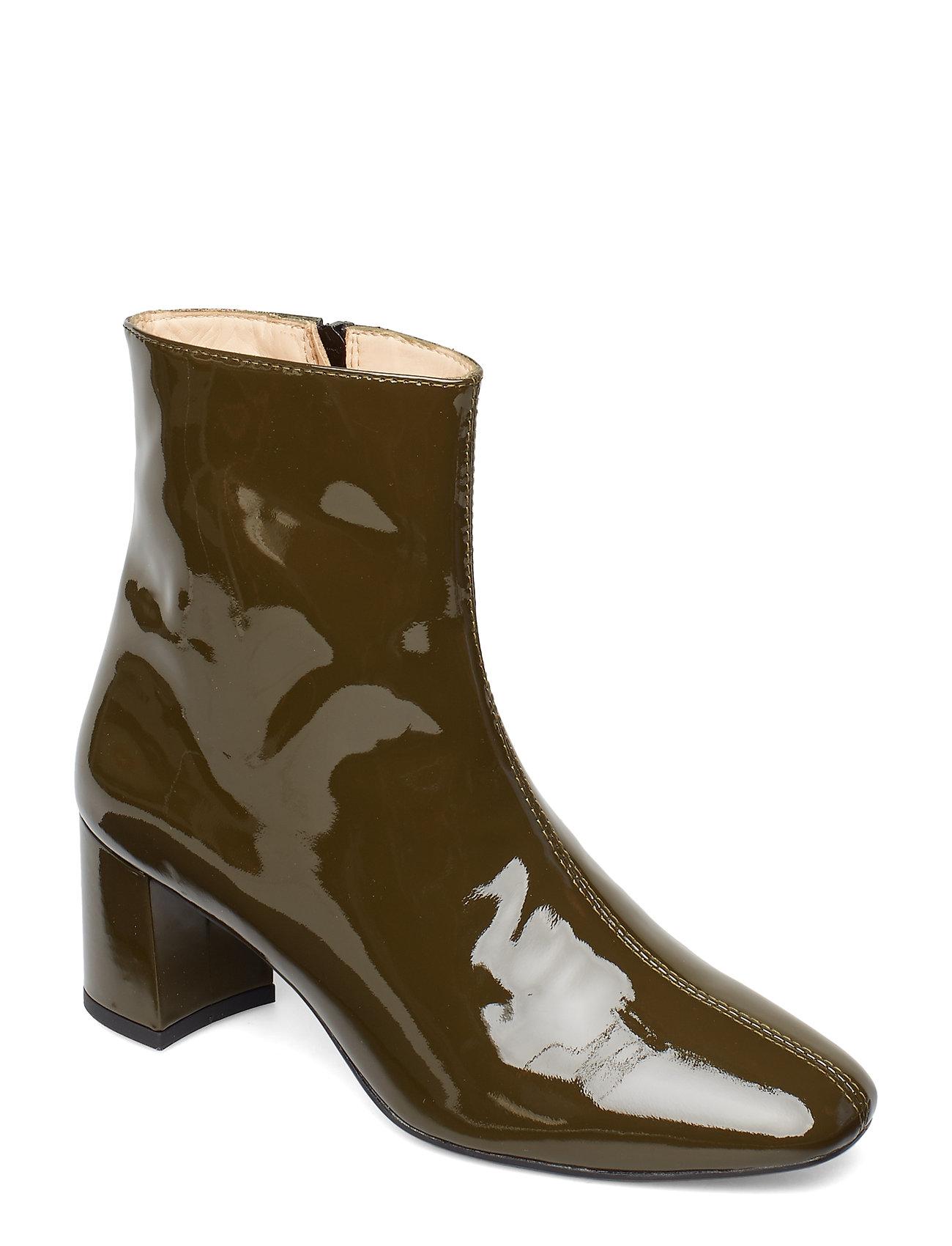 Image of Bootie - Block Heel - With Zippe Shoes Boots Ankle Boots Ankle Boots With Heel Grøn ANGULUS (3193759621)