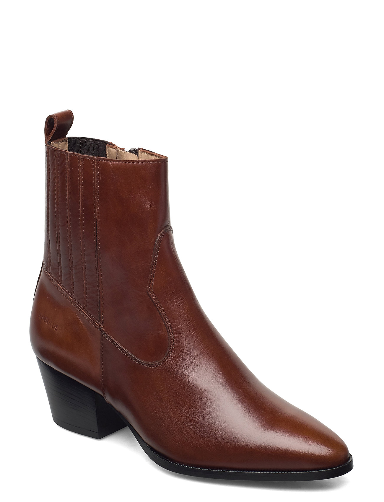 Image of Booties - Block Heel - With Elas Shoes Boots Ankle Boots Ankle Boot - Heel Brun ANGULUS (3446806853)