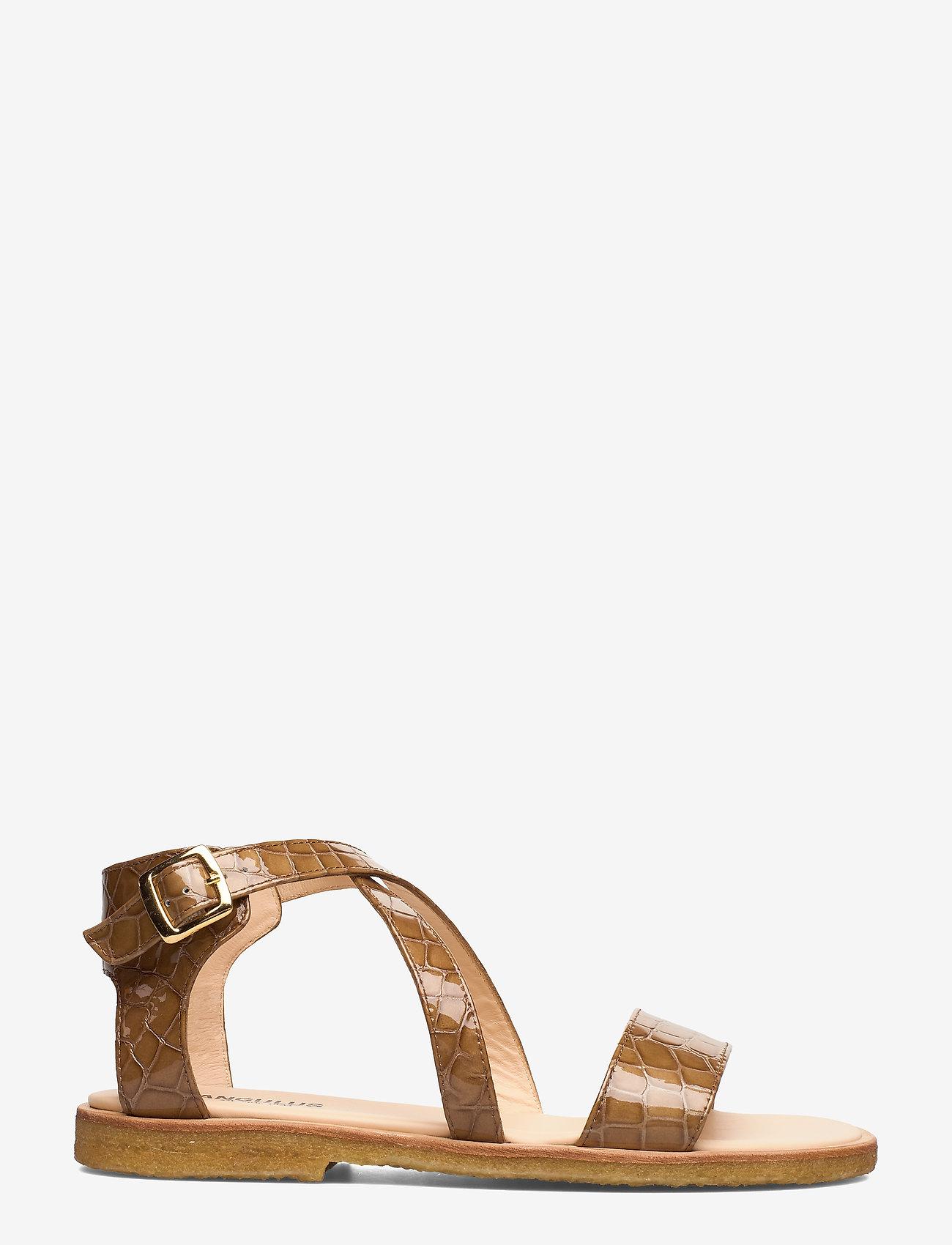 ANGULUS - 5442 - platta sandaler - 1671 tan krokodille - 1