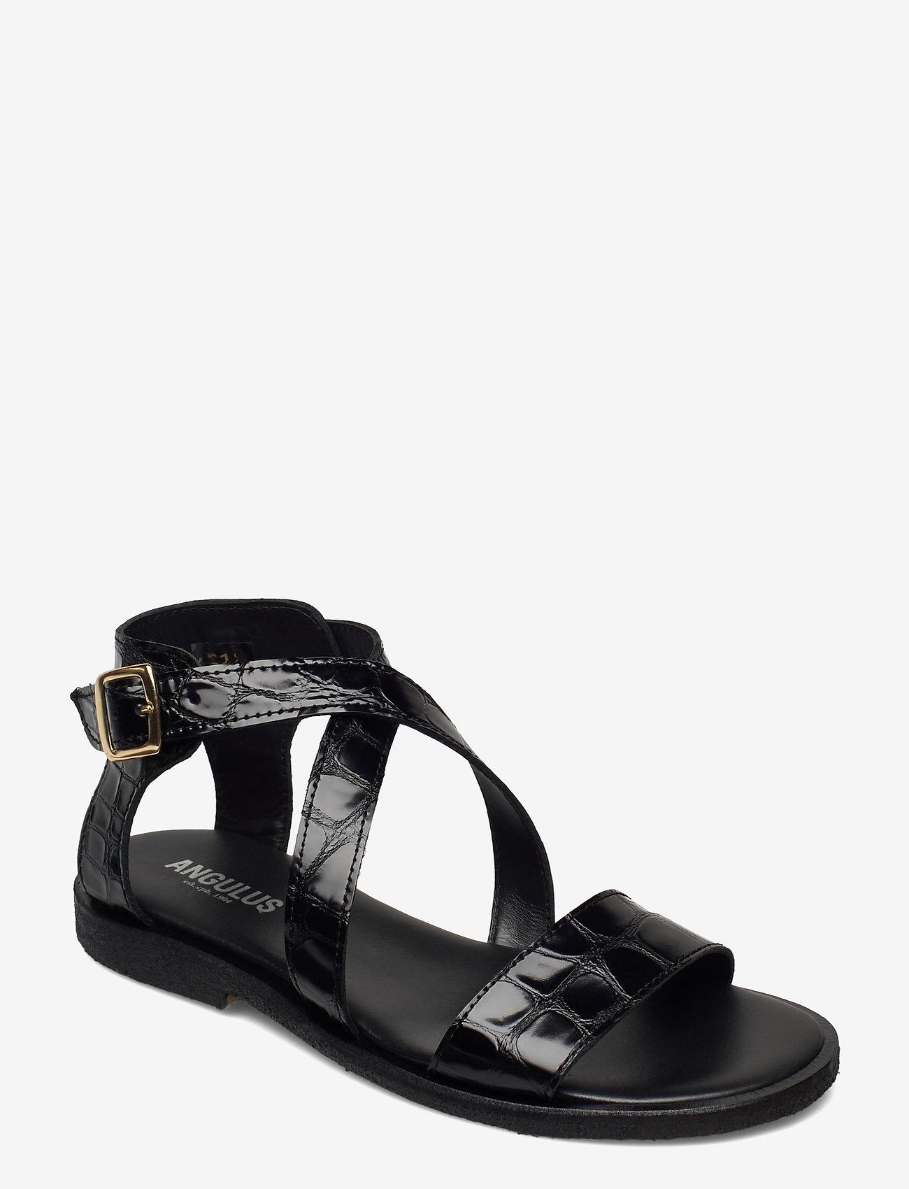 ANGULUS - 5442 - flache sandalen - 1674 black croco - 0