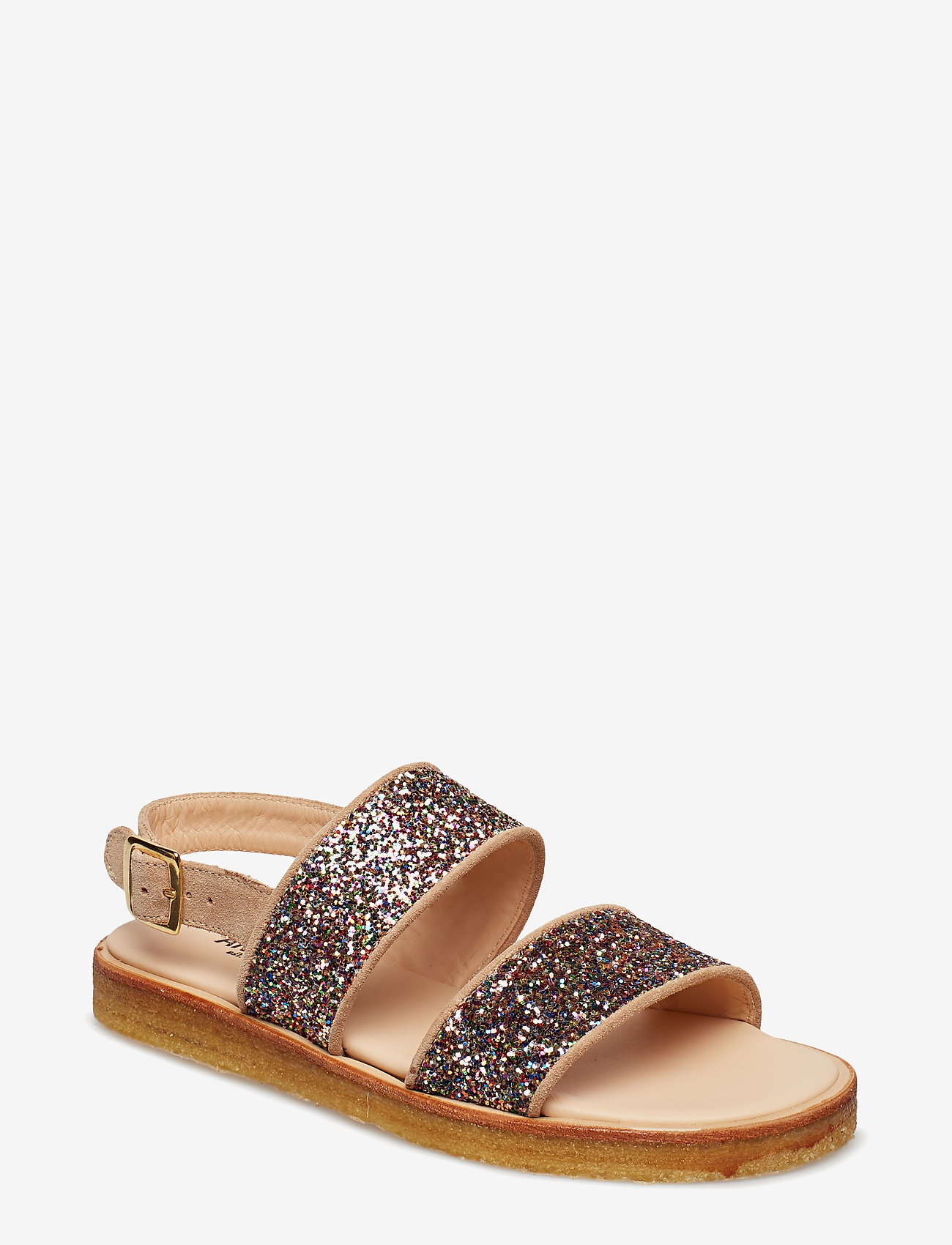 ANGULUS - Sandals - flat - open toe - op - flache sandalen - 1149/2488 sand/multi glitter - 0