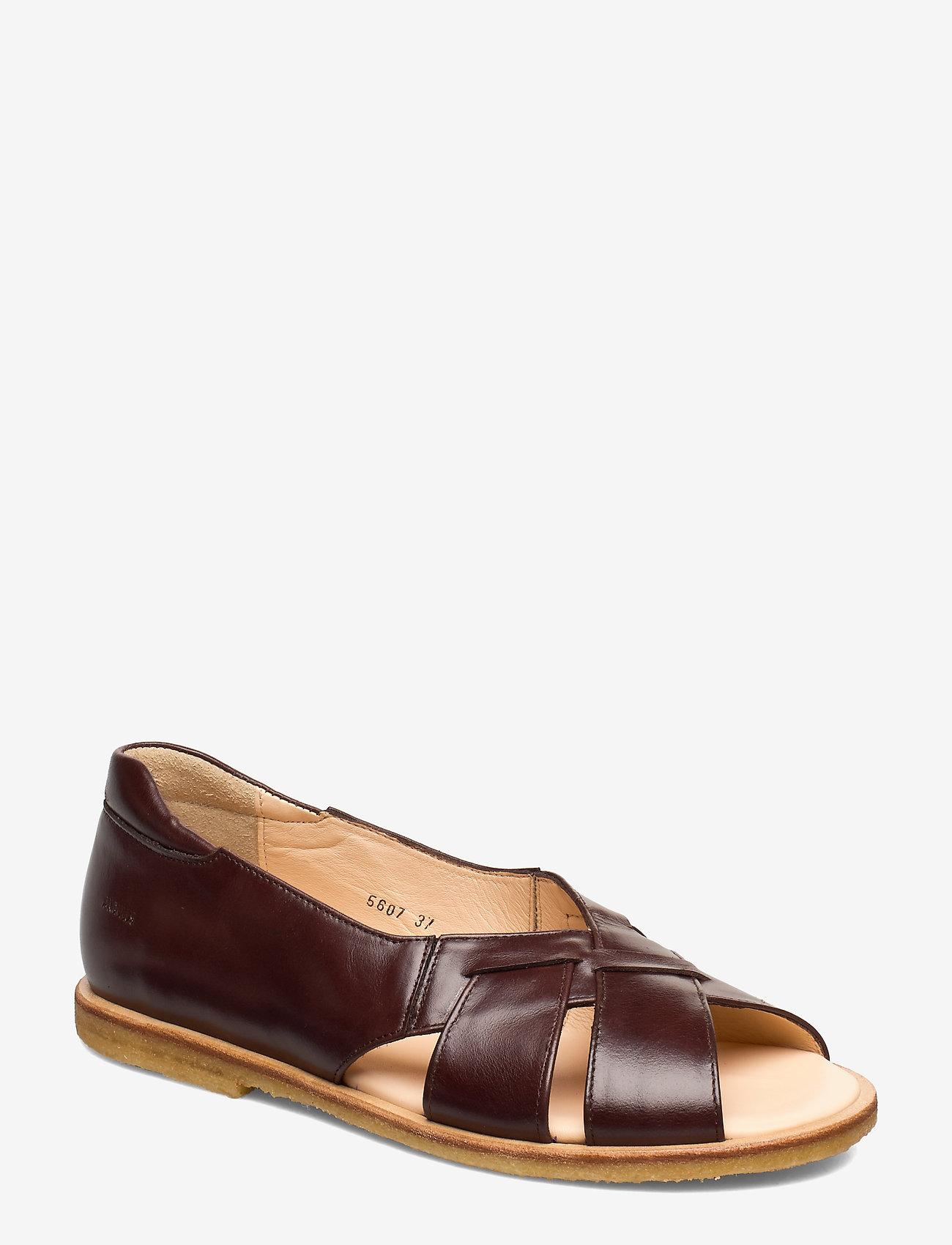 ANGULUS - Sandals - flat - open toe - op - platta sandaler - 1836/002 dark brown/dark brown - 0