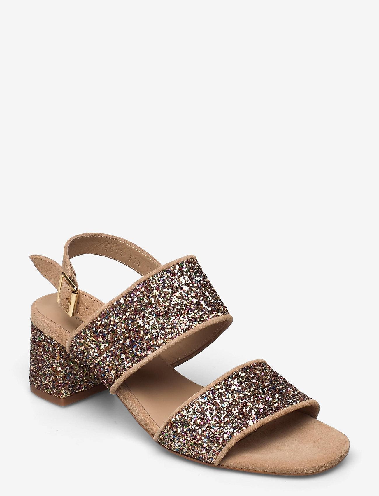 ANGULUS - Sandals - Block heels - sandalen mit absatz - 1149/2488 sand/multi glitter - 0