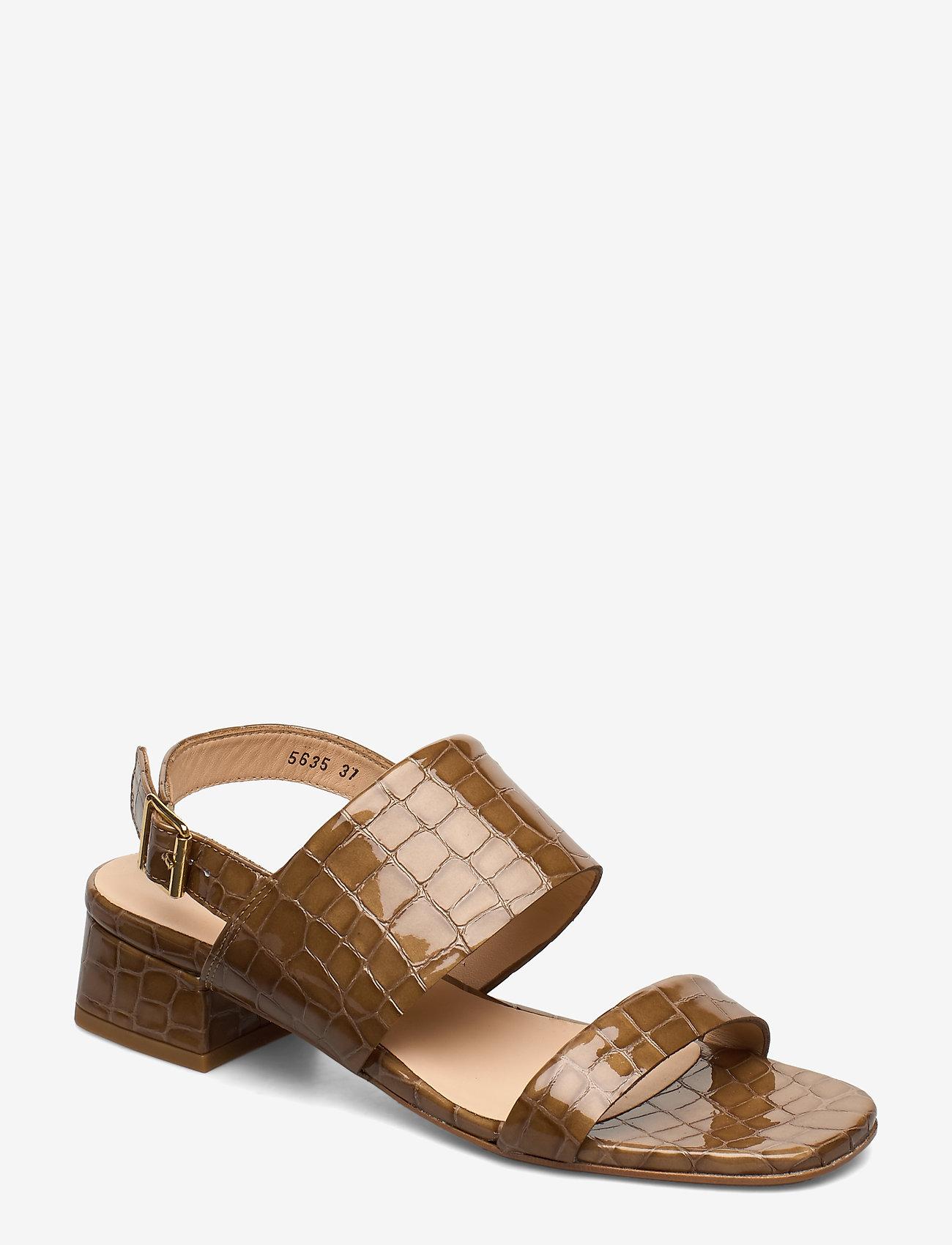 ANGULUS - Sandals - Block heels - høyhælte sandaler - 1671 tan krokodille - 0