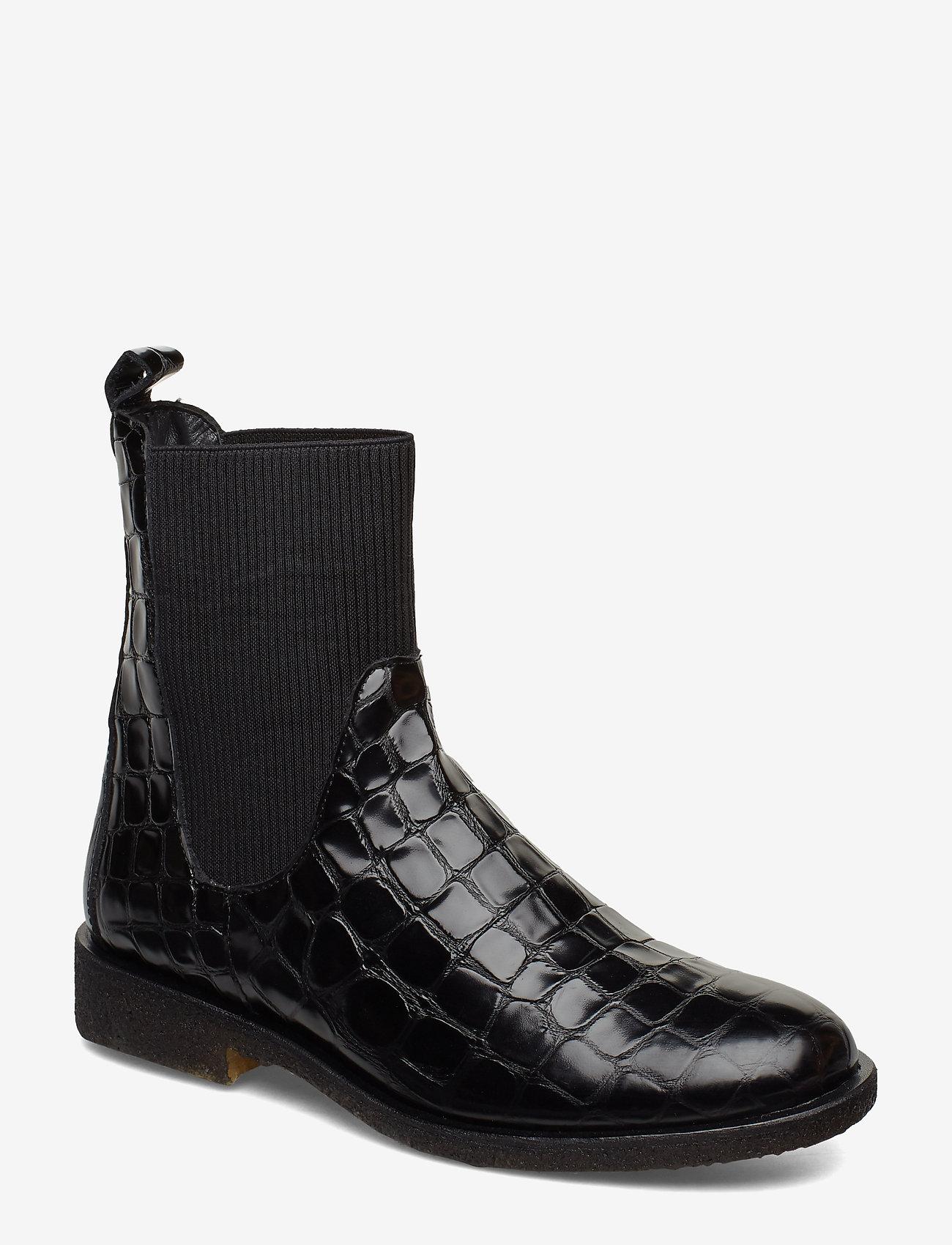 ANGULUS - 7317 - flade ankelstøvler - 1674/019 black croco/ black - 0