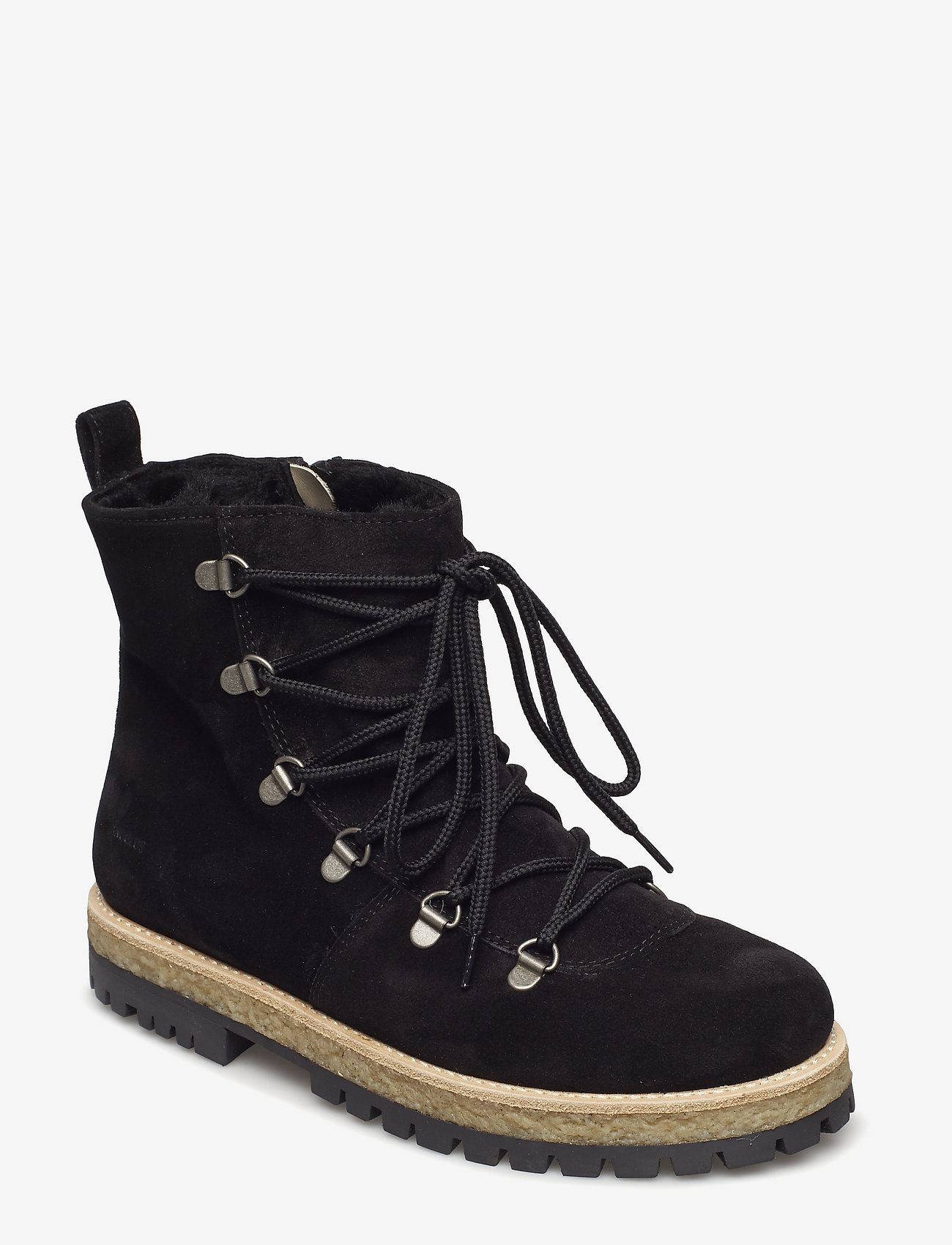 ANGULUS - Boots - flat - with laces - flat ankle boots - 1163/2014 black/black lamb woo