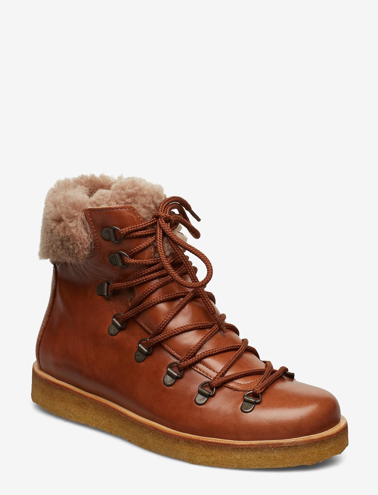 ANGULUS - Boots - flat - with laces - platte enkellaarsjes - 1838/2019 cognac/cognac lamb w - 0