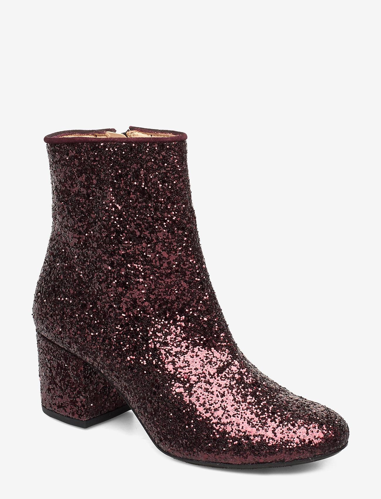 ANGULUS - Bootie - block heel - with zippe - talon haut - 2642/2195 bordeaux glitter/bor - 0