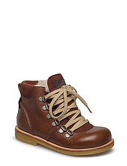 Boots - flat - with lace and zip - 2509/1166/1660 COGNAC/BROWN/BR